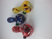 "Thick glass pipe with colored frit accents. Colors will vary. Approximate size: 4.5"" Approximate weight: 120g"